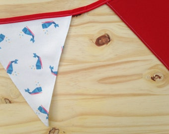 Whale Print Red Fabric Bunting - 2.5m
