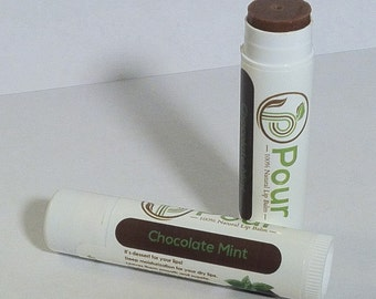 Chocolate Peppermint-Mint Lip Balm - All Natural-Handmade Lip Balm - Mint Chocolate-Beeswax Lip Balm