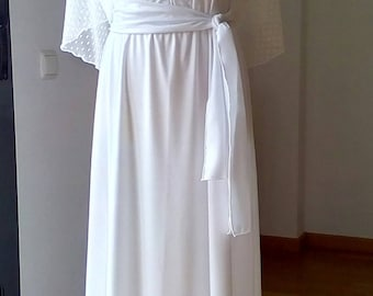 Shawl circular tulle plumetti, polka dots, very soft, stretch, White