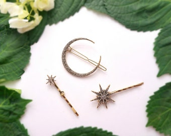Moon and star hair pins/ crescent moon & star hair bobby pins/ moon hair pins/ star hair pins/ hair barrette celestial hair accessory