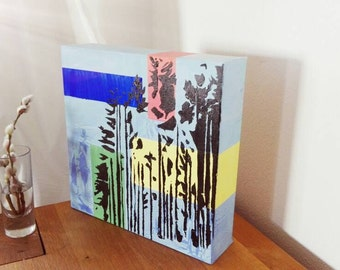 Acrylic painting - sculpture - spruce I - 30 x 30 cm original painting to installation - forest in the summer sun holidays