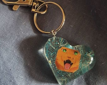 Handmade Keyring lucky charms made of resin cat art Keychain cat