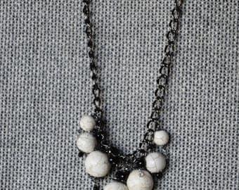 White Howlite,  swarovski, and onyx necklace