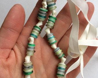 Metal Free Ribbon Necklace, Lampwork Handmade Czech Glass Beads, Green & White