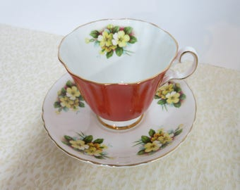 Royal Grafton Teacup and Saucer, Vintage Orange and Floral Teacup, Fine Bone China Teacup and Saucer, Vintage Royal Grafton Teacup - V136