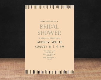 Bridal Shower Invitation, PINK  BLACK Bridal Shower Invitation, Stationary, Shower Invite, Printable Invitation