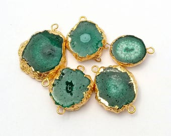 Beautiful smooth Green solar quartz electroplated  slices connector with an amazing quality  , 14x15 mm to 21x22 mm , 5 pieces