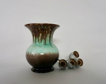 Small vintage West German vase in stunning teal and chocolate