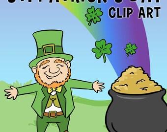 St. Patrick's Day Clip Art, Leprechaun Clip Art, St Pattys Day Clip Art, Shamrock Clip Art, 4 Leaf Clovers, Classroom Download, Pot of Gold
