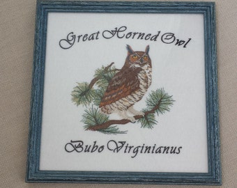 Georgeous Machine Embroidered Great Horned Owl; Machine Embroidered Owl Portrait; Framed Owl Art