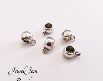 Silver Alloy Symbol Bails Charms Spacer Beads Jewelry Finding patterned Holder, 11*5mm Silver Tone smooth