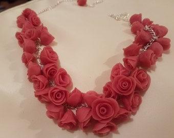 Handmade Pink Porcelain Necklace
