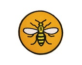 Circle Manchester Worker Bee Iron On Patch Embroidery Sewing DIY Customise Denim Cotton Hipster Northern Quarter Yellow Save the Bees