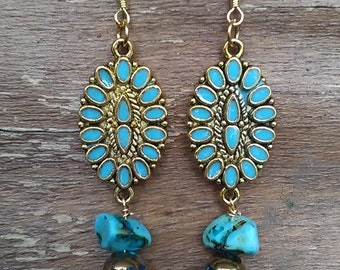 Bohemian Flower Flair Earrings Gold Blue Design