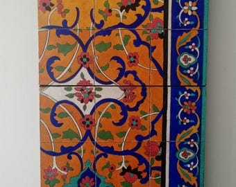 Calligraphic painting - Acrylic on canvas - Persian tile pattern