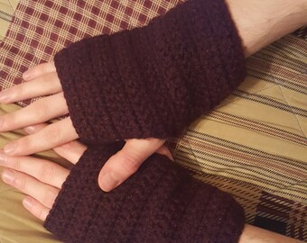 Handmade Crochet Finergless Gloves - Red/Burgundy - Custom Men's Gloves and Arm Warmers