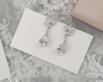 Bridal CZ Teardrop Earrings, Bridal Jewelry, Prom Earrings, Crystal Teardrop Earrings, Bridal Accessories, Bridesmaid Earrings, Free Ship!