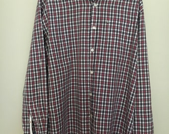 COLORADO Red/white/taupe plaid button up long sleeve collared male light weight XL shirt