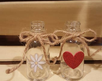 Decorated Cute Mini Glass Vases of Bottles With a Twine Bow and Decoration, Spring is Here!