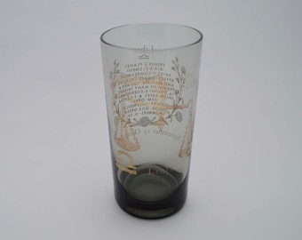 Libra Zodiac Drinking Glass, Vintage Smoked Glass Tumbler 1980's