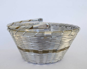 Vintage Brass and Silver Tone Woven Metal Basket Made in India, Industrial Decor, Modern Decor Basket, Metal Bread Basket, European Style