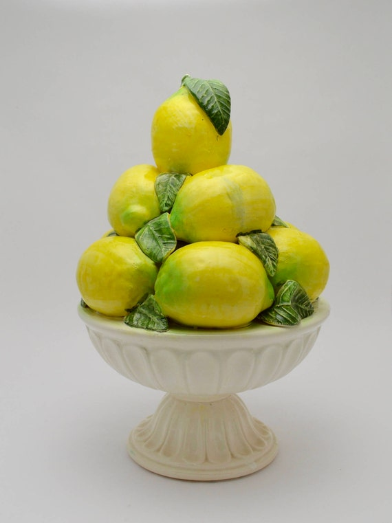 Mid Century Spanish Majolica Lemons in Bowl Centerpiece, Majolica Lemon Topiary Made in Spain, Vintage Lemon Topiary