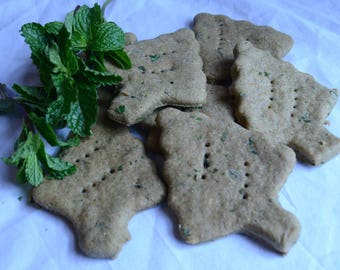 6oz Homemade Dog Biscuits - Coconut Oil - Gourmet Dog Treats - Freshly Baked - Mint - Fresh Breath Treats