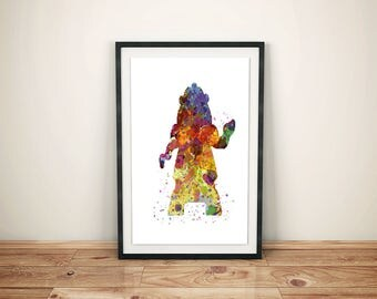 Beauty and Beast Print-Printed Beauty and Beast-Disney Belle Art-Kids Disney Belle-Disney Belle Prints-Beast Watercolor-Beauty Watercolor