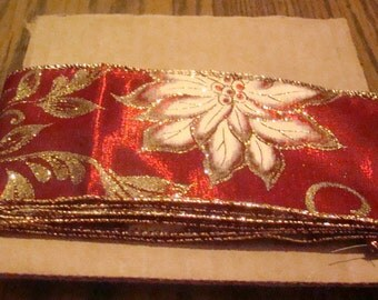 SALE, LAST MARKDOWN 3 Yards of Ribbon (Poinsetta)