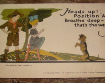 Vintage Postcard (Little Girl,Boy Scout, Dog)