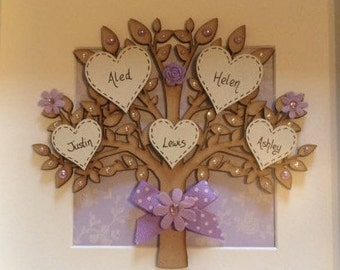 Wooden family tree in a frame