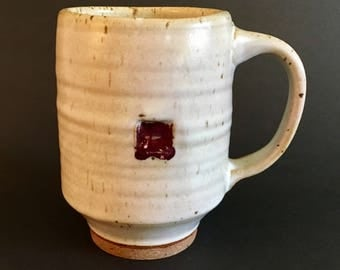 Wheel-thrown Stoneware Mug with White and Red Glaze