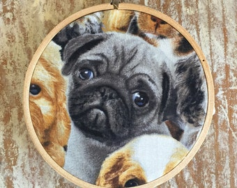 Pug puppy embroidery hoop wall hanging