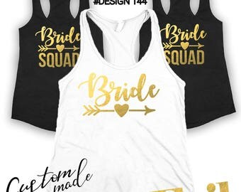 Bridal party shirts, Bridesmaid gift, bridesmaid shirt, Bachelorette party shirts, Bride Squad, Bridesmaid Set of 2,3,4,5,6,7,8,9,10,11,12