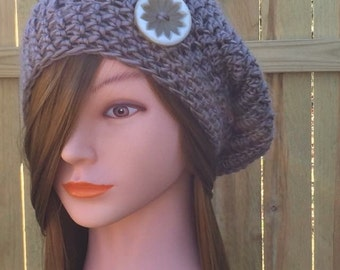 SLOUCHY BERET, Taupe Slouchy, Crochet Hat, Women's Hat, Summer Slouchy Hat