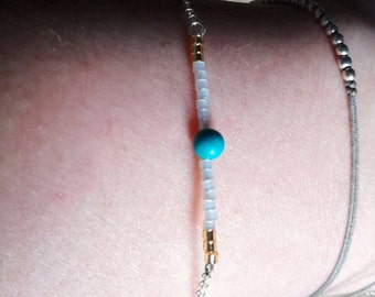 Silver Bracelet with Turquoise-Handmade-Turquoise-White-Golden-Gift for women-Delicate-Cleo-