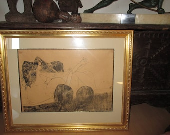Stunning Drawing  by Pat Hanly 1961  Well Known New Zealand Artist - Wonderful Provenance.