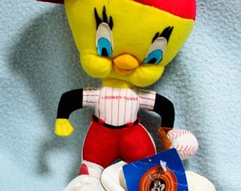 Looney Tunes Warner Plush Yellow Tweety Bird Stuffed Animal Baseball