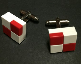 Lego cuff links - White & Red Checkers