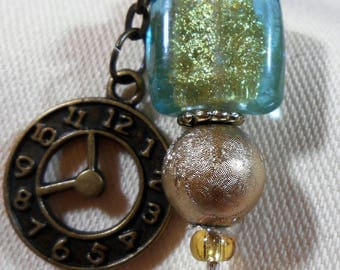Stickpins with Antique Brass Clock Charms and Teal Gold-Lined Glass Beads