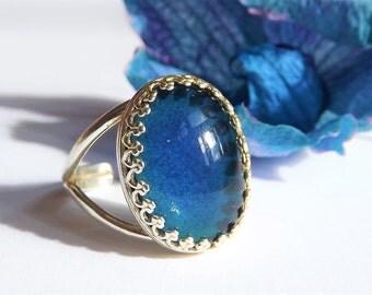 SALE MOOD RING - Vintage 70's mood stone - Vintage Ring - Crown Ring- Large Sterling Silver Ring - Mood Cabochon Ring - Sterling Mood Ring -