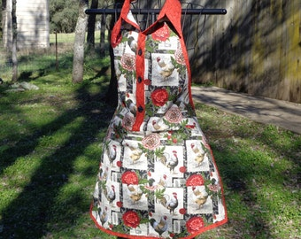 Country Chicken, buttoned up, collared apron