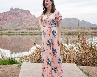 Blush Flutter Sleeve Maxi Wrap Dress