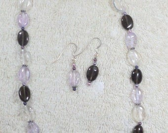 Smoky, Rose andCrystal Quartz Necklace & Earrings