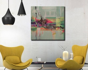Abstract Horse Painting, Large Horse Wall Decor, Large Abstract Nature Painting, Horse Lover Gift, Abstract Animal Paintng, Horse Wall Art
