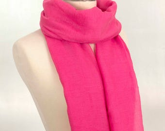Pink Scarf, Hot Scarf, Gift for her, Cute Scarf, Gift Scarf, For Her, Girl Scarf, For Mom, Women Scarf, Fashion Scarf, Simple scarf, Long
