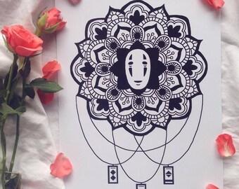 Kaonashi Mandala Print