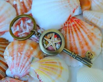 Skeleton key keychain, Antique keychain, Bohemian keychain, Key to my heart, Brass keychain, Steampunk keychain, Vintage key, Car accessory.