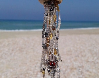 Ceramic and bead jellyfish necklace.