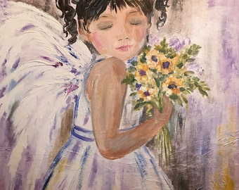 Pig-tail Angel With Flowers